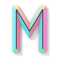 Neon color bright font Letter M 3D