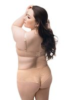 Plus size female in casual beige lingerie