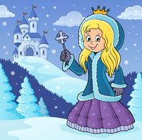 Princess in winter clothes theme image 2