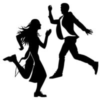 Silhouette of the girl and the guy jumped