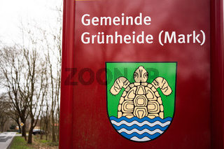 city sign of Grunheide Mark in Germany
