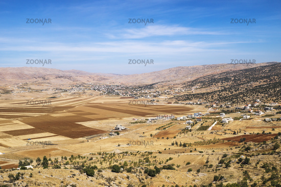 Fields and mountains in Beqaa Valley, Lebanon