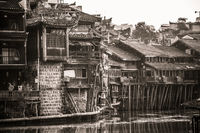 Old stilted wooden Diaojiao houses in Fenghuang