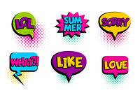 Comic text speech bubble sorry, love, like, summer