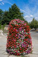 Flower column with geranium flowers