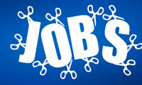 Job cuts concept as scissors cutting through jobs word