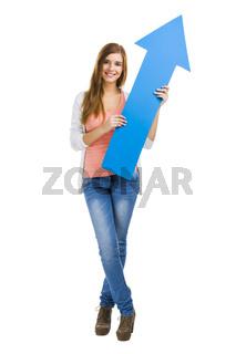 Woman holding an arrow