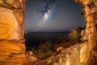 Views to the night sky from inside the sandstone cave