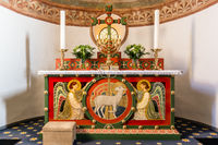 Altar with two angels and the Lamb of God On the altar is a seven-branched candlestick, Tveje Merlos