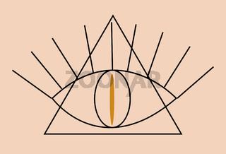 Occult Illuminati Masonic Symbols. Eye of Providence in Triangle Icon, boho ethnic mystical magic style. Vector illustration