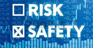 Conceptual image with financial charts and graphs - Risk or Safety