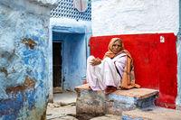 Elderly woman in the streets of Jodhpur, India