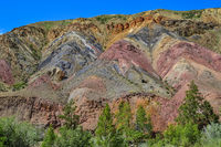 Unrealy beautiful colorful clay cliffs in Altai mountains, Russia