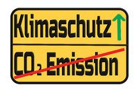 Traffic sign with the German words for climate protection and CO2 emissions.