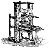 Wooden Mechanical Book Press, 1880. Illustration of the 19th century. White background.