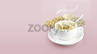 Cup of cereal on color background solid