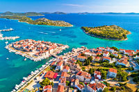 Tribunj old island town and archipelago of central Dalmatia aerial view