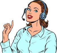 A female telecom operator. Telephone support