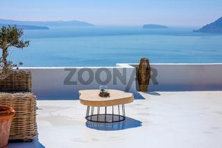 Table on the Santorini Sun Terrace and Sea View