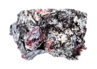 rough red Garnet crystals in Biotite rock isolated
