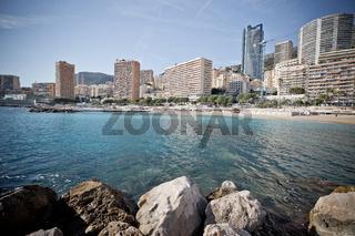 Monaco beach and Monte Carlo cityscape vintage color profile view