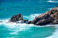 Crete, high waves hit rocks