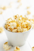 Sweet tasty popcorn in bowl.