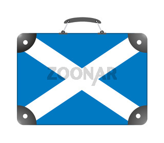 Scotland country flag in the form of a travel suitcase on a white background