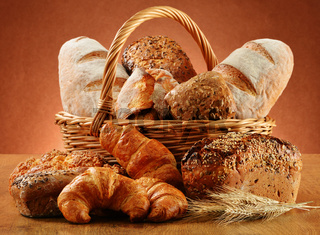 Wicker basket with variety of baking products