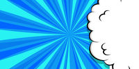 Cartoon puff cloud blue background for text template