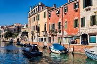 Venice, Italy - March 20th, 2019 - Rio dei Carmini in the Dorsoduro district