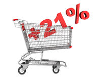 shopping cart with plus 21 percent sign isolated