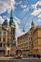 Halle Saale, Germany - 21.06.2019 - old town with tram