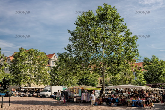 bitterfeld, germany - 19.06.2019 - market square in front of the town hall