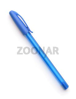 Closed blue plastic disposable ballpoint pen