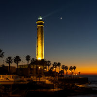 view of the Chipiona lighthouse just after sunset