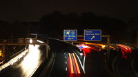 Scenery of a highway in Germany at night