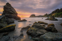 Sunset at a Rocky Beach, Northern California Coast