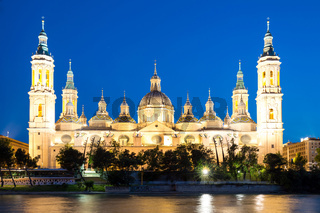 Zaragoza Basilica Cathedral at dusk