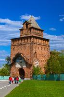 KOLOMNA, RUSSIA - MAY 03, 2014: Walking people in the Kolomna Kremlin - Russia - Moscow region