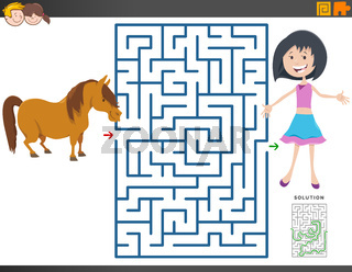maze game with cartoon girl and pony horse