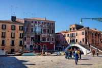Venice, Italy - 03/20/2019 - Canal in the San Polo district