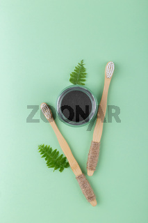 Natural bamboo tooth brushes and black dental powder