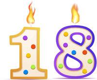 Eighteen years anniversary, 18 number shaped birthday candle with fire on white