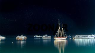 Boats anchored near the shores of Zanzibar