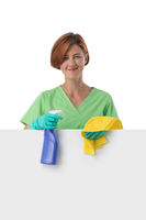 Cleaning lady with blank banner