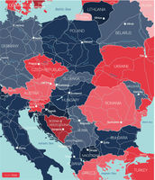 Eastern Europe detailed editable map