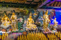 Statues in Temple 33 statues of guanyin in the Sanya Nanshan Cultural Center