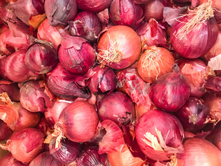 Close-Up Of Red Onion. Healthy Fresh Food Background.