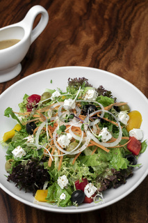 greek salad with feta cheese and olives with citrus vinaigrette